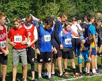 x country boys on starting line